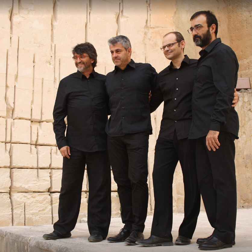 Photo des quatre hoomes de Percussions de Barcelona
