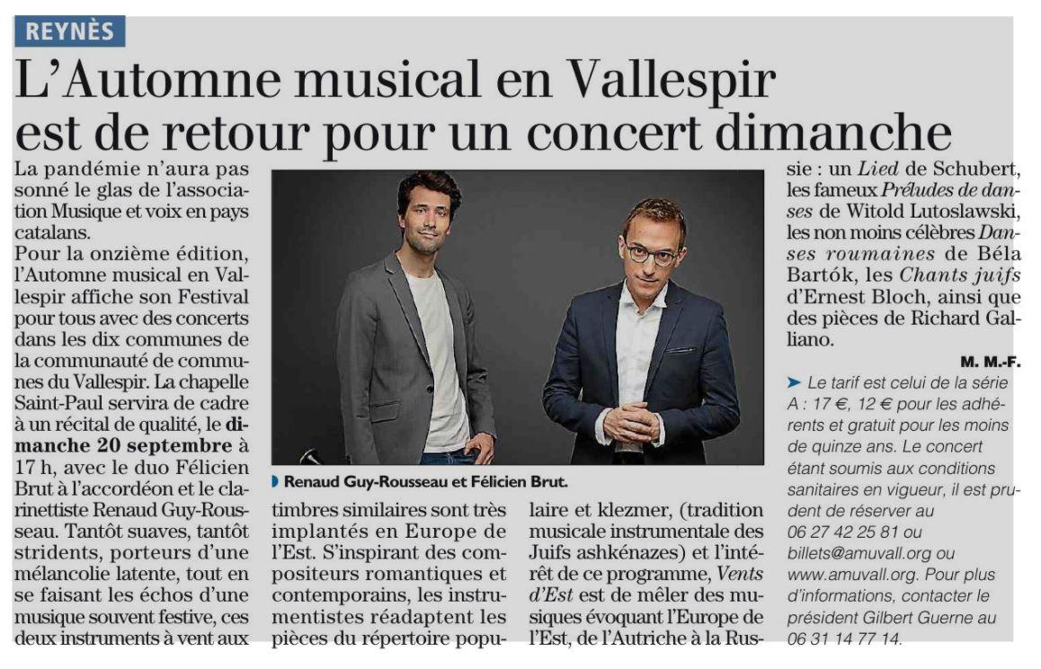 Annonce dans L'Independent pour le concert à Reynès le 20 Septembre